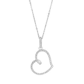 Sterling Silver & Cubic Zirconia Heart Pendant - Product number 2932741
