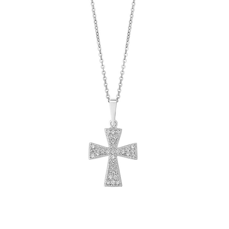 Sterling Silver & Cubic Zirconia Vintage Cross Pendant - Product number 2932768
