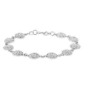 Sterling Silver Crystal Set Disk Tennis Bracelet - Product number 2933004