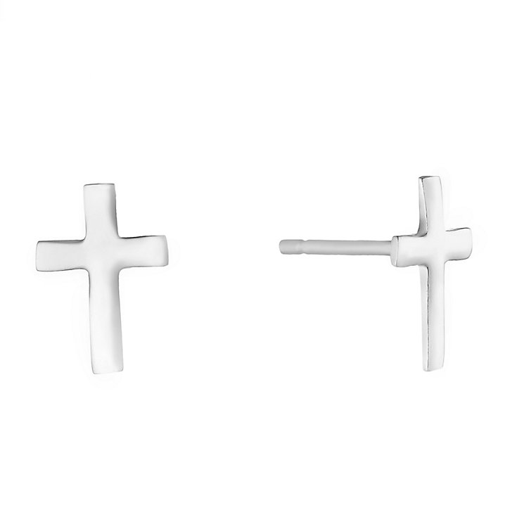 Sterling Silver Cross Stud Earrings H Samuel