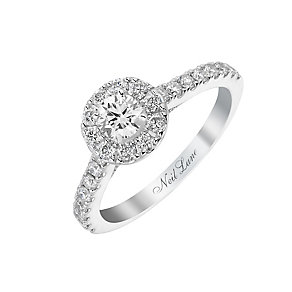 Neil Lane 14ct white gold 77pt round cut diamond halo ring - Product number 2934523