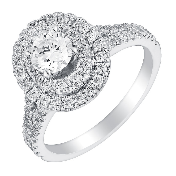 Neil Lane 14ct white gold 1.13ct oval cut diamond halo ring - Product number 2937166