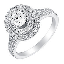 Neil Lane 14ct White Gold 1.13ct Diamond Oval Halo Ring - Product number 2937166