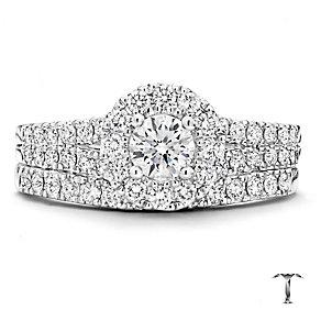Tolkowsky 18ct White Gold 1ct Diamond Round Halo Bridal Set - Product number 2937832