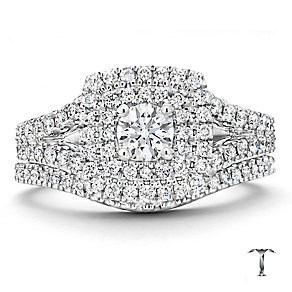 Tolkowsky 18ct white gold 1ct cushion cut bridal set - Product number 2938022