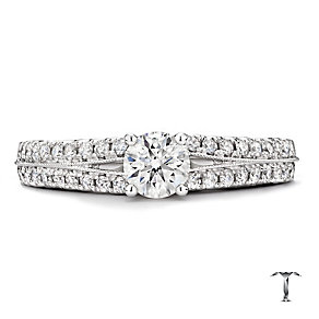 Tolkowsky 18ct white gold 0.88ct round cut diamond ring - Product number 2938715