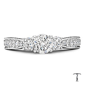 18ct white gold 1.25ct three stone diamond ring - Product number 2938855