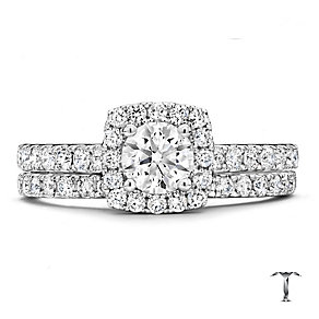 18ct white gold 1.25ct diamond halo bridal set - Product number 2939029