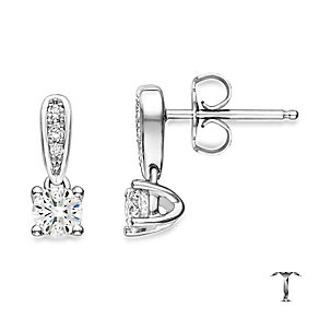 18ct white gold 54pt round cut diamond drop earrings - Product number 2939207