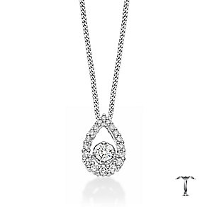 18ct white gold 0.33ct pear shaped halo set diamond pendant - Product number 2939215