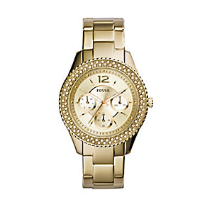 Fossil ladies' gold-plated stone set bracelet watch - Product number 2939614