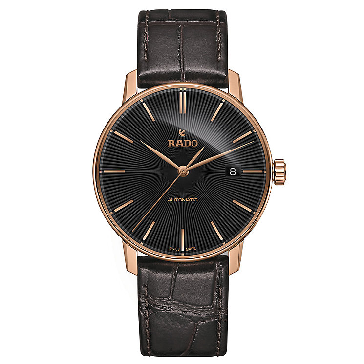 Rado men's rose gold-plated black leather strap watch - Product number 2943883