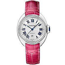 Cartier Clé ladies' 18ct white gold pink leather strap watch - Product number 2948915