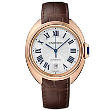 Cartier Clé men's 18ct rose gold brown leather strap watch - Product number 2948923