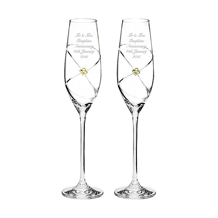 Engraved Pair of Infinity Flutes with Gold Swarovski Element - Product number 2949512
