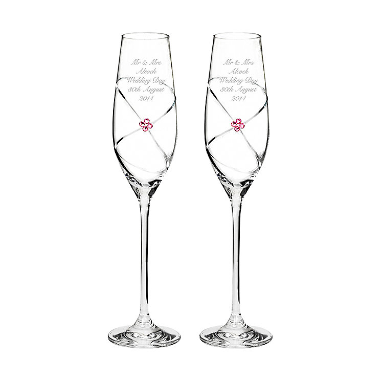 Engraved Pair of Infinity Flutes with Ruby Swarovski Element - Product number 2949520