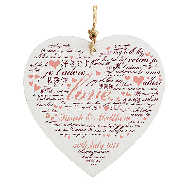 Personalised I Love You Wooden Heart Decoration - Product number 2949903