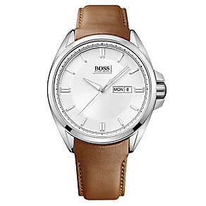 Hugo Boss stainless steel brown leather strap watch - Product number 2951266