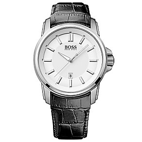 Hugo Boss men's stainless steel black leather strap watch - Product number 2951282