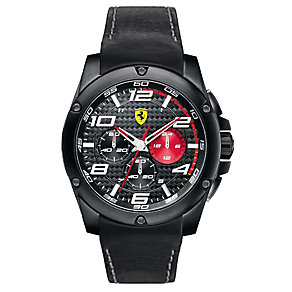 Ferrari men's ion-plated black leather strap watch - Product number 2952319