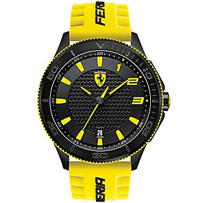 Scuderia Ferrari men's ion-plated yellow rubber strap watch - Product number 2952513