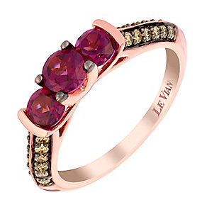 Le Vian 14ct Strawberry Gold diamond rhodolite ring - Product number 2956721