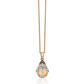 14ct rose gold diamond and opal pendant - Product number 2957086