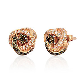 Le Vian 14ct Strawberry Gold diamond knot earrings - Product number 2957264
