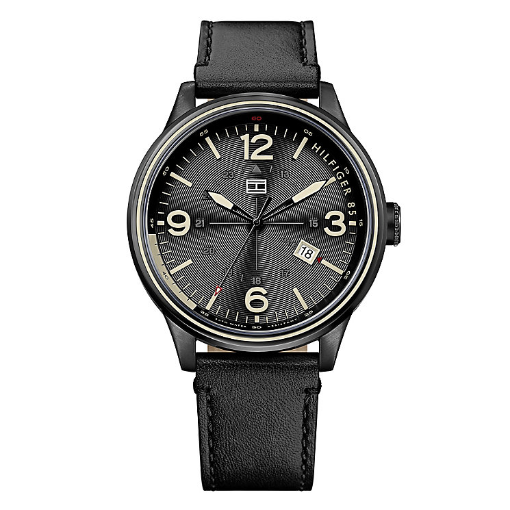 Tommy Hilfiger Men's Black Dial & Black Leather Strap Watch - Product number 2958783