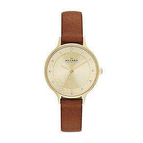 Skagen Anita ladies' gold-plated brown leather strap watch - Product number 2959003