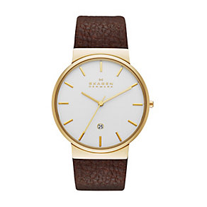 Skagen Ancher men's gold-plated brown leather strap watch - Product number 2959011