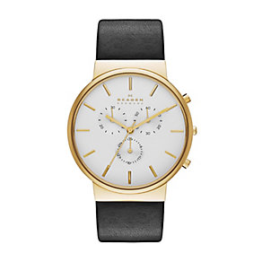 Skagen Ancher men's gold-plated black leather strap watch - Product number 2959038