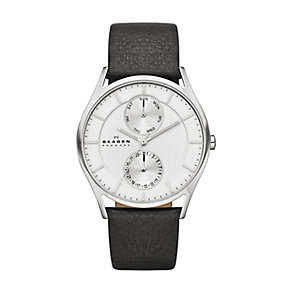 Skagen Holst men's stainless steel black leather strap watch - Product number 2959062