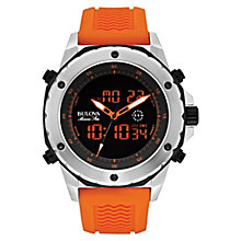 Bulova men's stainless steel orange rubber strap watch - Product number 2961776