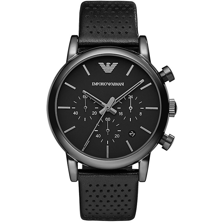 Emporio Armani Men's Ion Plated Black Strap Watch - Product number 2963159