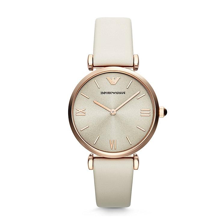 Emporio Armani Ladies' Gold Tone Cream Strap Watch - Product number 2963205