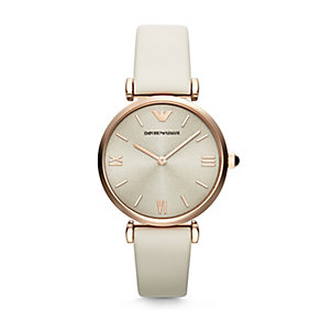 Emporio Armani Ladies' Gold Tone Cream Strap Watch - Product number 2963205