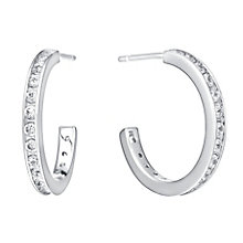 Sterling Silver & Channel Set Cubic Zirconia Hoop Earrings - Product number 2963345