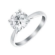9ct White Gold 8mm Cubic Zirconia Solitaire Ring - Product number 2963361