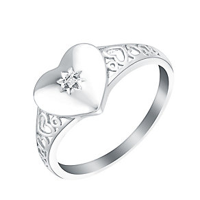 9ct White Gold & Diamond Heart Signet Ring - Product number 2964058