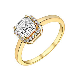 9ct Yellow Gold & Cubic Zirconia Halo Solitaire Ring - Product number 2964732
