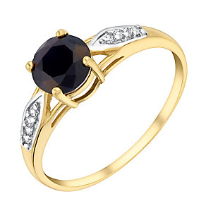 9ct Yellow Gold Sapphire & Cubic Zirconia Ring - Product number 2966581