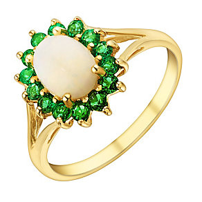 9ct Yellow Gold Opal & Created Emerald Ring - Product number 2966808