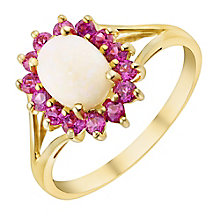 9ct Yellow Gold Opal & Created Ruby Ring - Product number 2967006