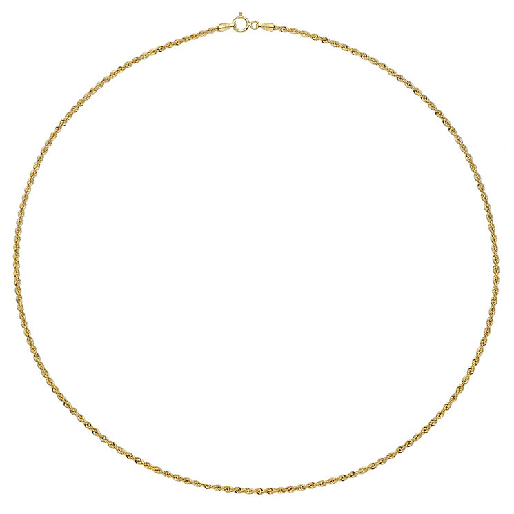 "9ct Yellow Gold 18"" Small Rope Chain - Product number 2967049"