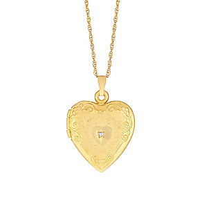 9ct Yellow Gold Diamond Set Engraved Heart Locket - Product number 2968118