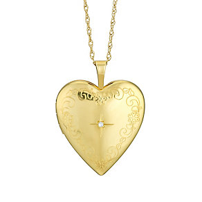 9ct Yellow Gold & Diamond Star Engraved Heart Locket - Product number 2968142