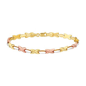 "9ct Three Colour Gold 7.5"" Kiss Design Bracelet - Product number 2968533"