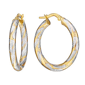 9ct White & Yellow Gold Arrow Twist Creole Hoop Earrings - Product number 2968851