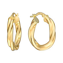 9ct Yellow Gold 15mm Twist Creole Hoop Earrings - Product number 2968886